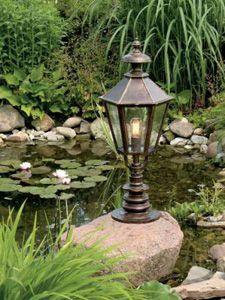 Фото - Бронзовий садовий ліхтарик біля декоративного ставка