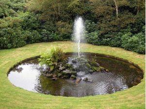 Фото - Садовий фонтан в облаштованому природному водоймищі