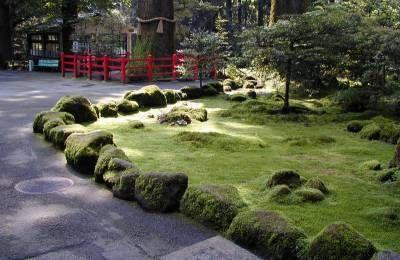 Фото - дизайн саду з покритими мохом камінням