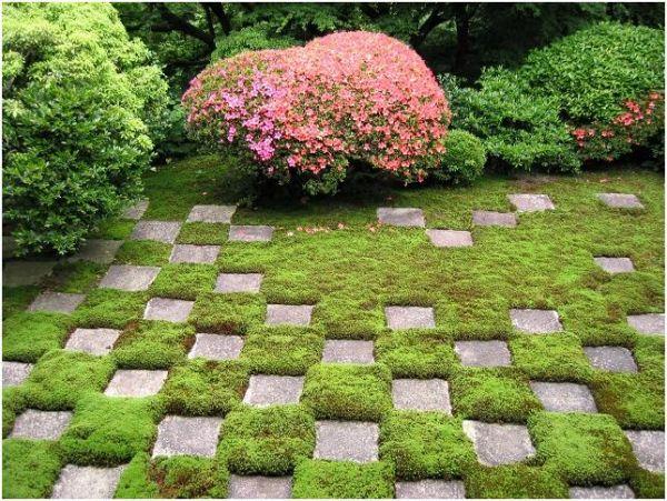 Фото - чергування плитки з мохом в дизайні саду
