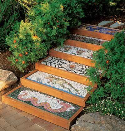 Фото - незвичайне оформлення садової сходи