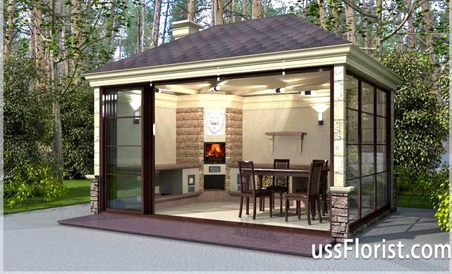 Фото - Закрита літня кухня на дачі