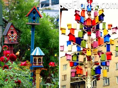 Будиночки для птахів з різних порід дерева – фото