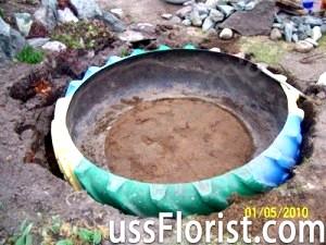 Падалка для саду зі старих шин – декоративний ставок